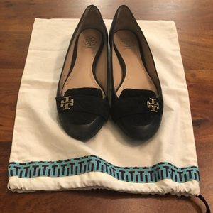 Tory Burch black loafers with velvet quilting